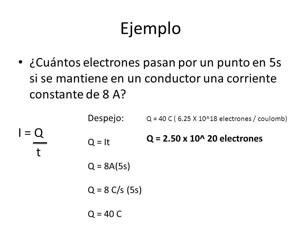 Ejemplo ¿Cuántos electrones pasan por un punto en 5s si se mantiene en un conductor una corriente constante de 8 A