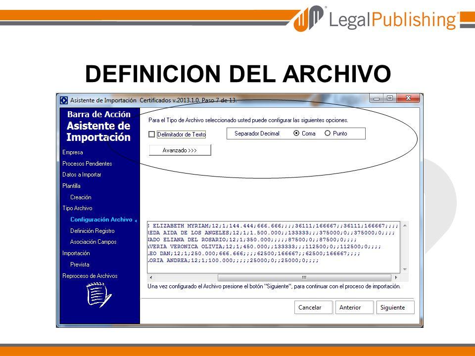 DEFINICION DEL ARCHIVO