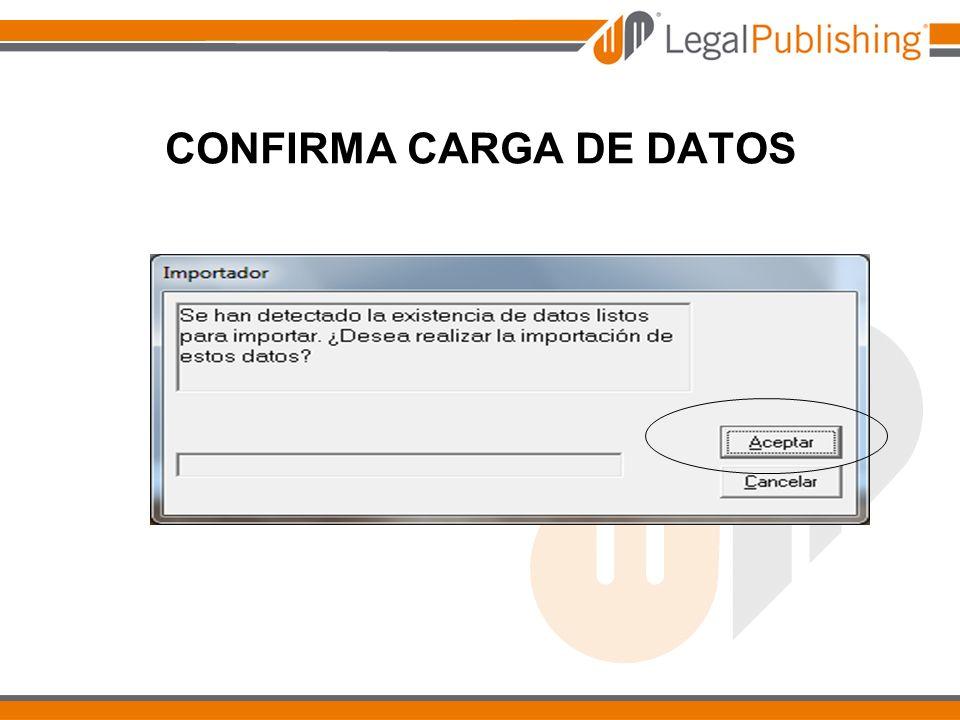 CONFIRMA CARGA DE DATOS