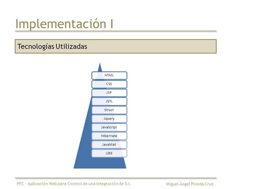 Implementación I Tecnologías Utilizadas Tecnologías Utilizadas