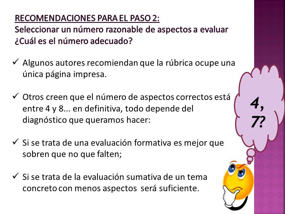 Recomendaciones para el Paso 2: Seleccionar un número razonable de aspectos a evaluar ¿Cuál es el número adecuado