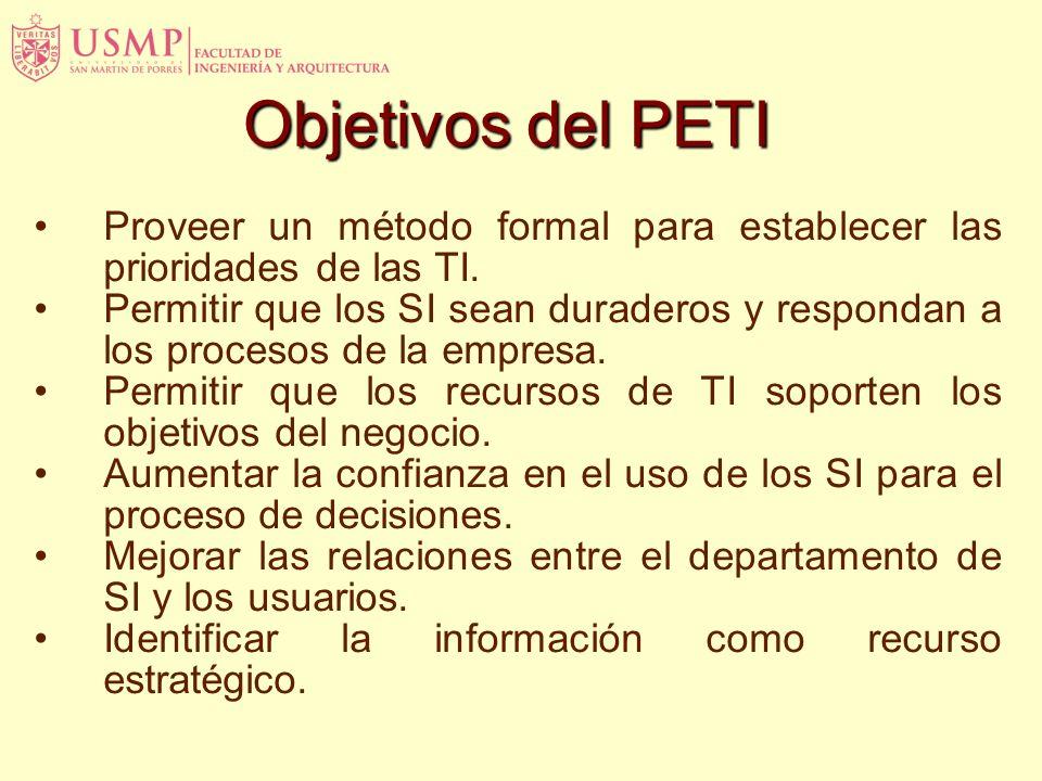 Objetivos del PETI Proveer un método formal para establecer las prioridades de las TI.