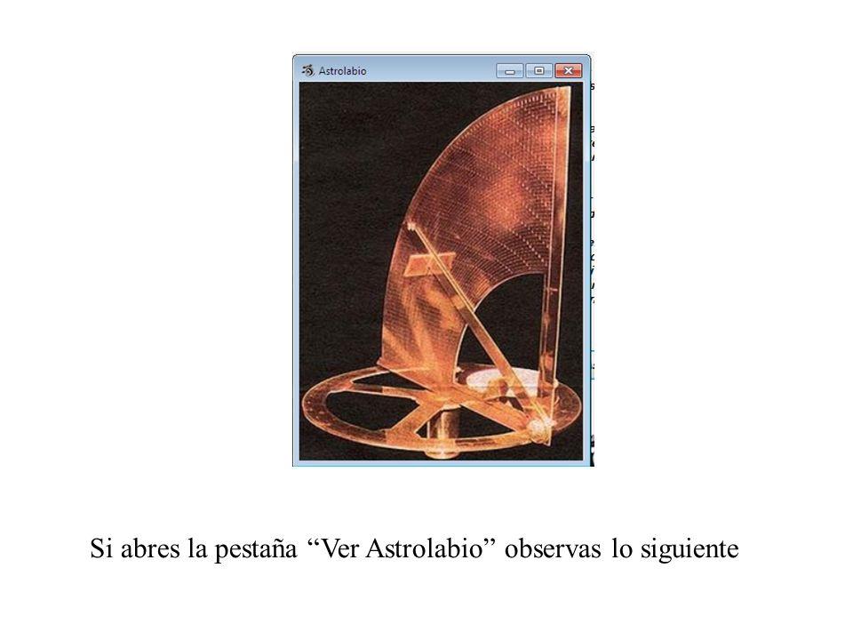 Si abres la pestaña Ver Astrolabio observas lo siguiente