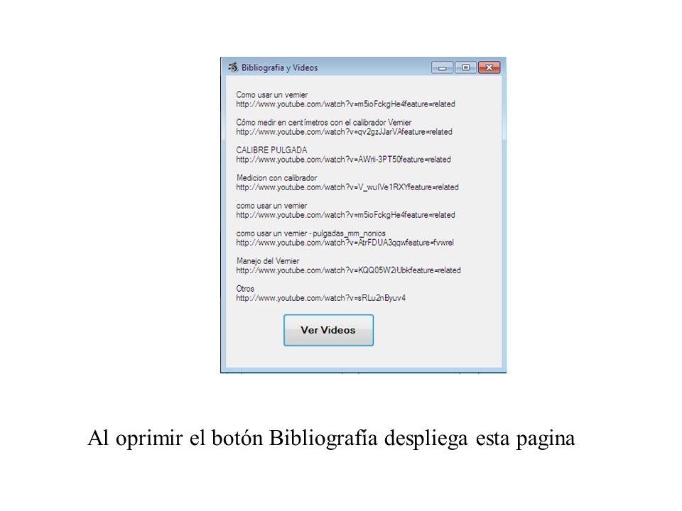 Al oprimir el botón Bibliografía despliega esta pagina