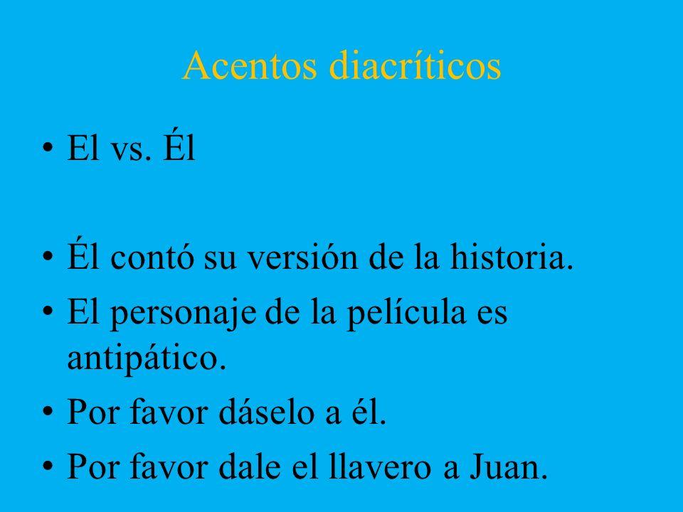 Acentos diacríticos El vs. Él Él contó su versión de la historia.