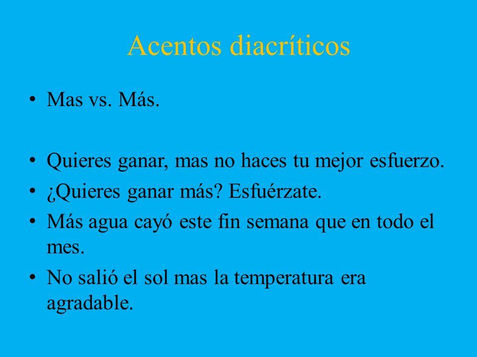 Acentos diacríticos Mas vs. Más.