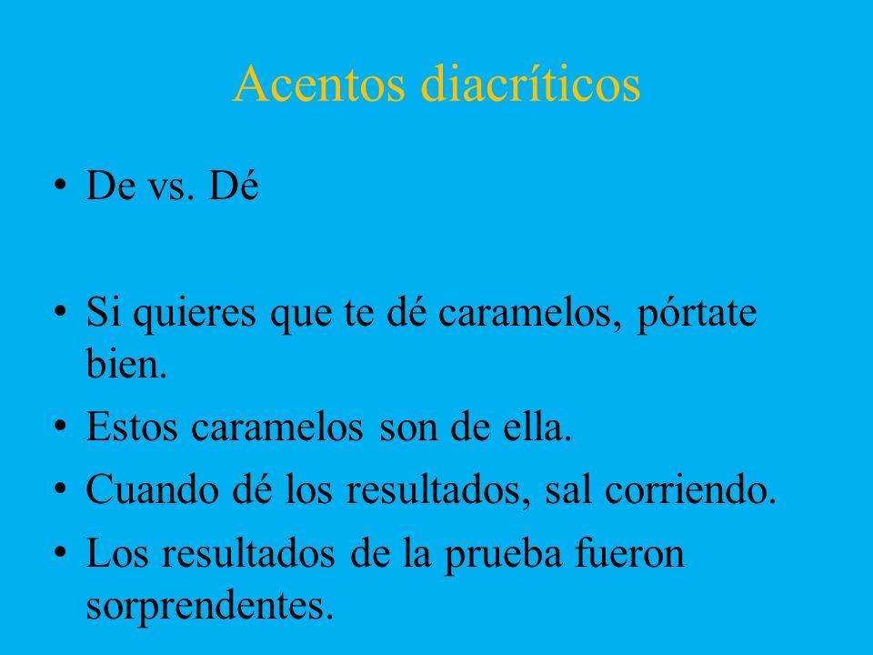 Acentos diacríticos De vs. Dé