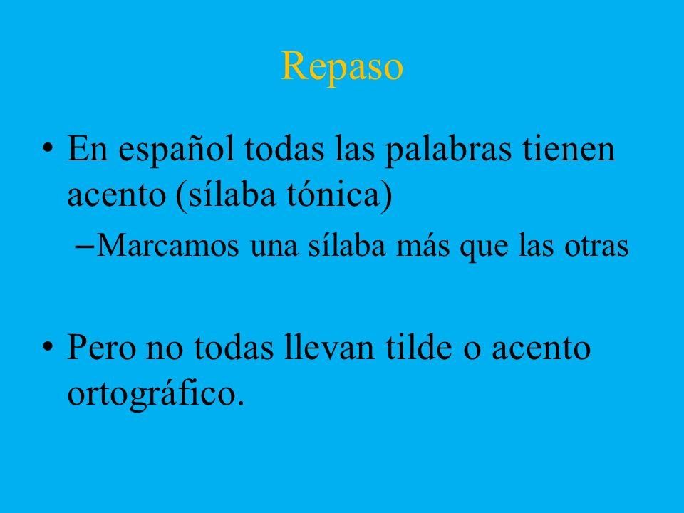 Repaso En español todas las palabras tienen acento (sílaba tónica)