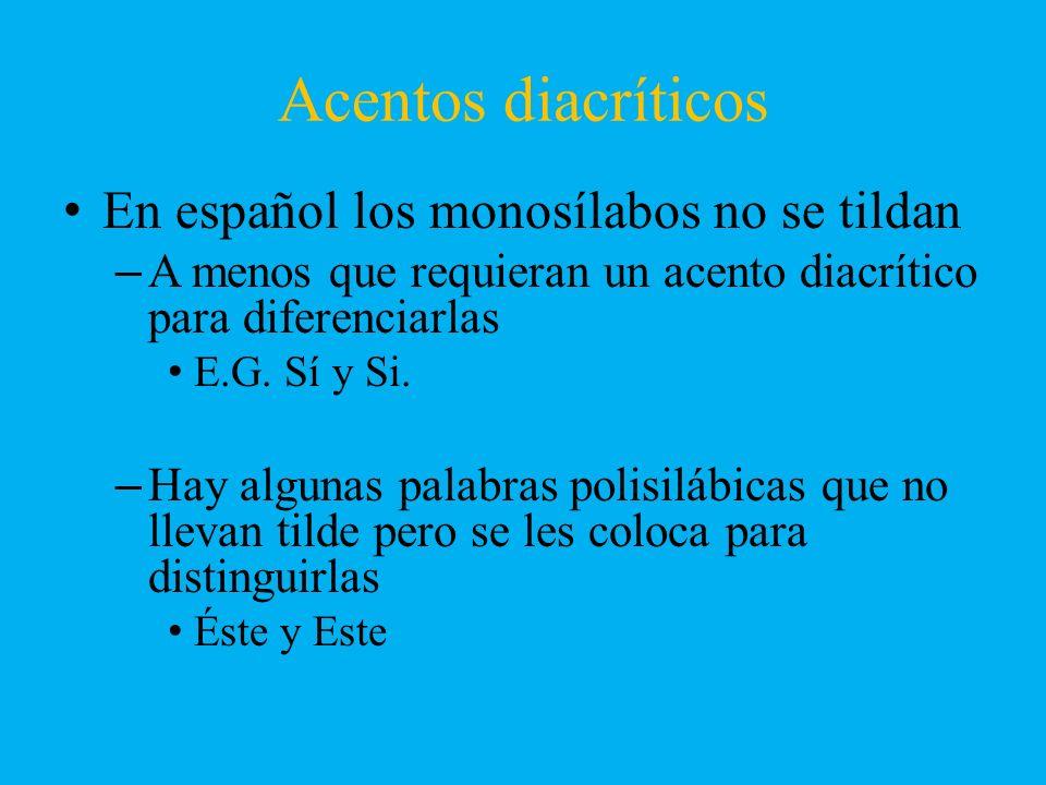Acentos diacríticos En español los monosílabos no se tildan