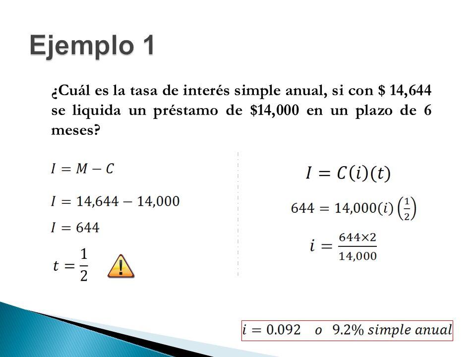 Ejemplo 1 ¿Cuál es la tasa de interés simple anual, si con $ 14,644 se liquida un préstamo de $14,000 en un plazo de 6 meses