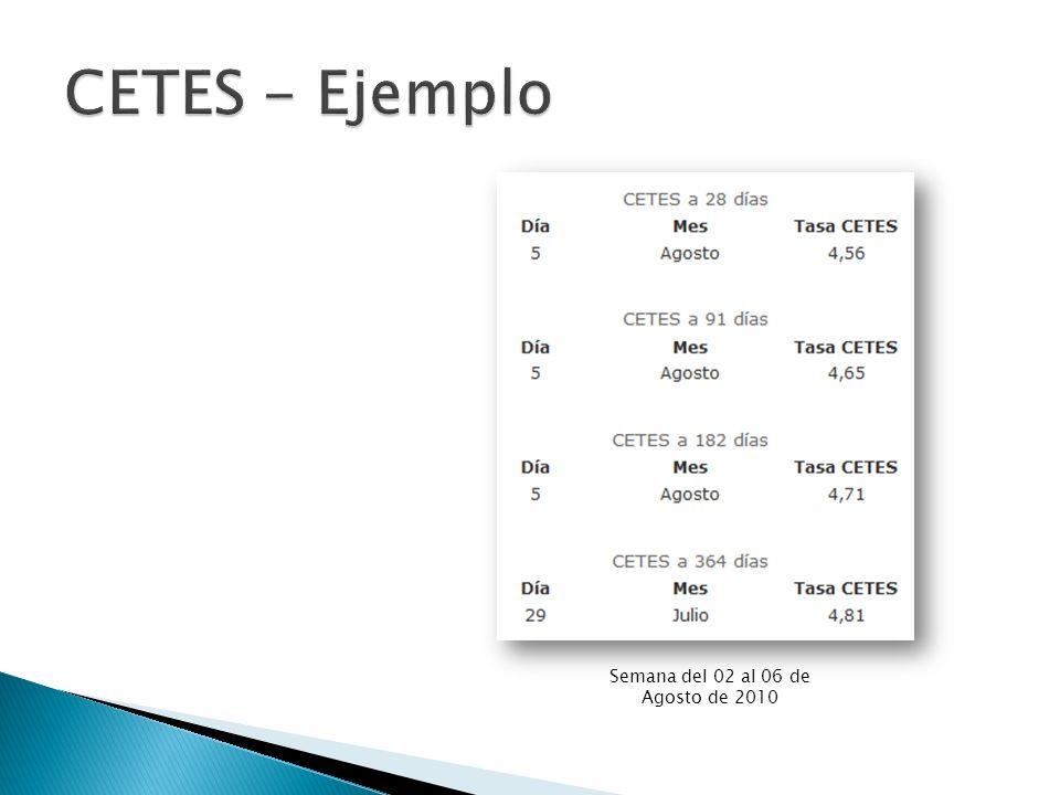 CETES - Ejemplo Semana del 02 al 06 de Agosto de 2010