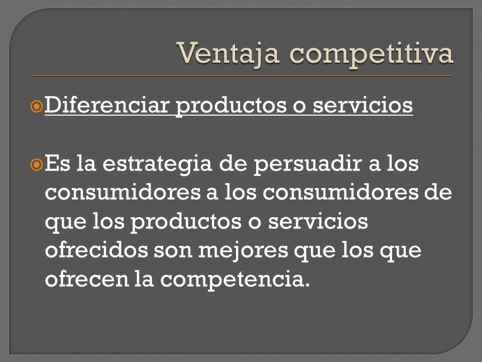 Ventaja competitiva Diferenciar productos o servicios