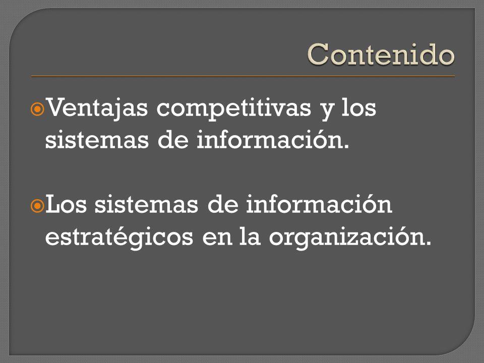 Contenido Ventajas competitivas y los sistemas de información.