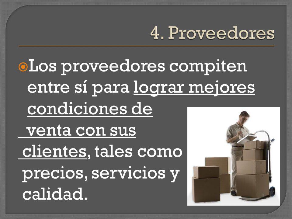 4. Proveedores Los proveedores compiten entre sí para lograr mejores condiciones de. venta con sus.