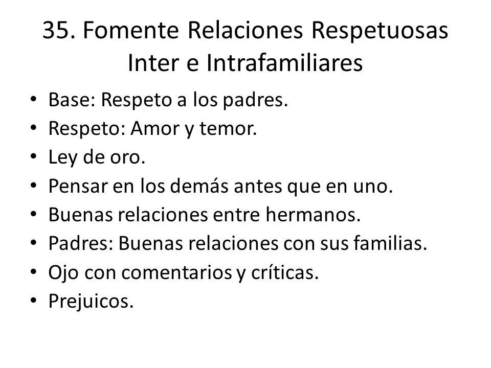 35. Fomente Relaciones Respetuosas Inter e Intrafamiliares