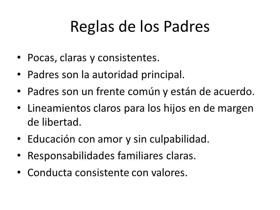Reglas de los Padres Pocas, claras y consistentes.
