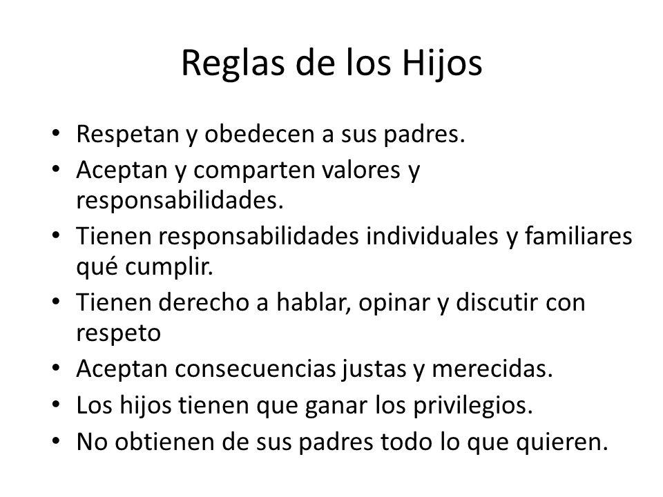 Reglas de los Hijos Respetan y obedecen a sus padres.