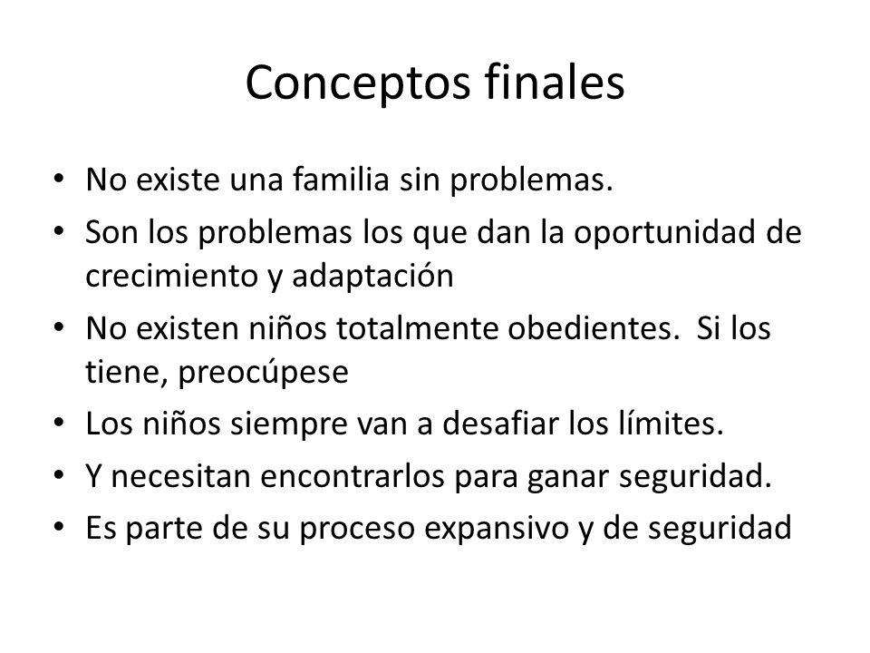 Conceptos finales No existe una familia sin problemas.