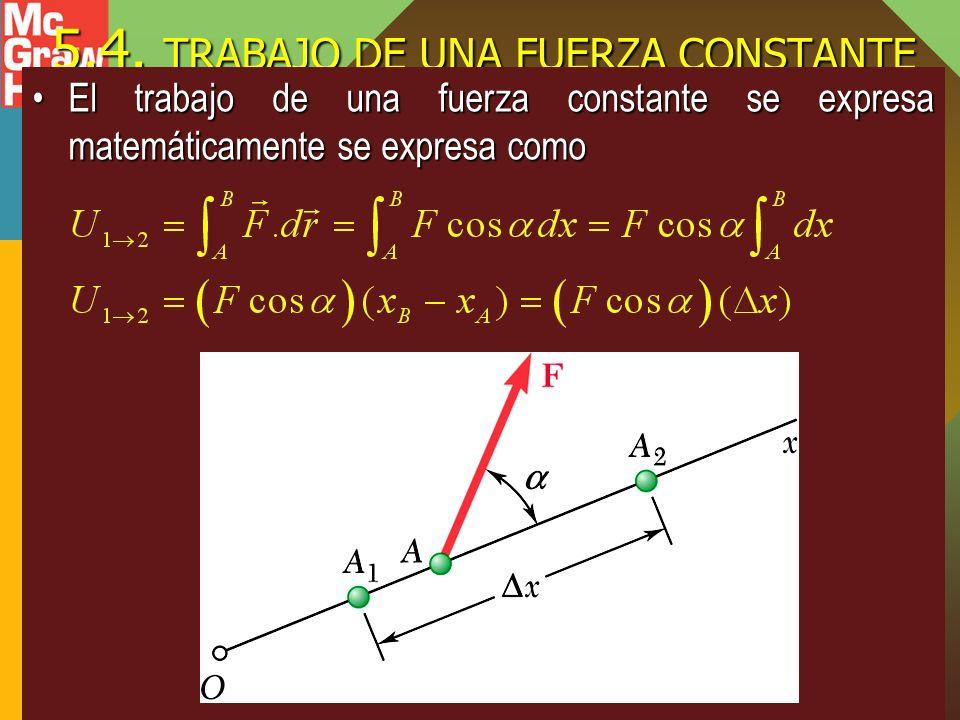 5.4. TRABAJO DE UNA FUERZA CONSTANTE