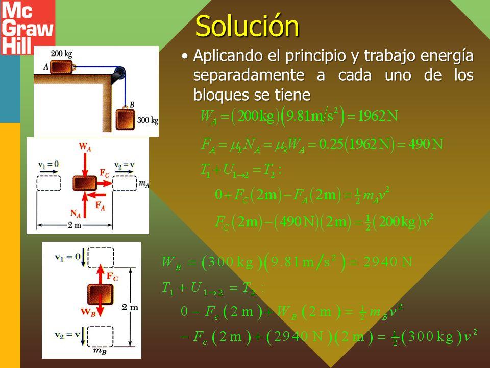 Solución Aplicando el principio y trabajo energía separadamente a cada uno de los bloques se tiene