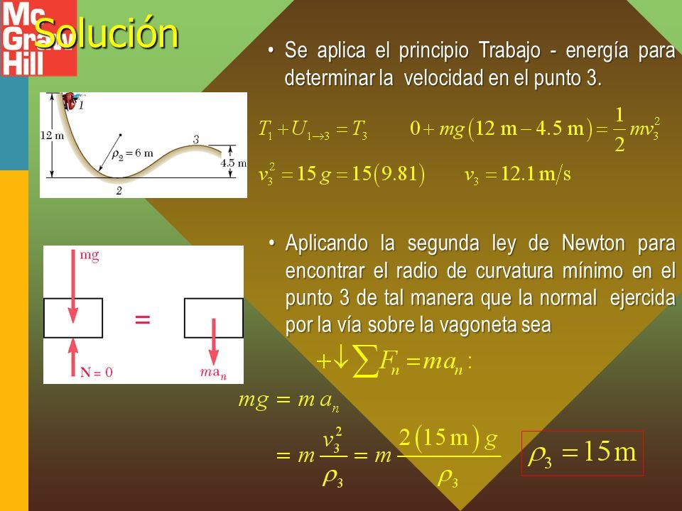 Solución Se aplica el principio Trabajo - energía para determinar la velocidad en el punto 3.
