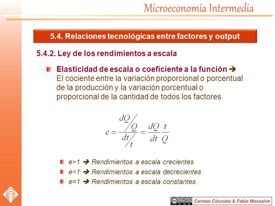 5.4. Relaciones tecnológicas entre factores y output