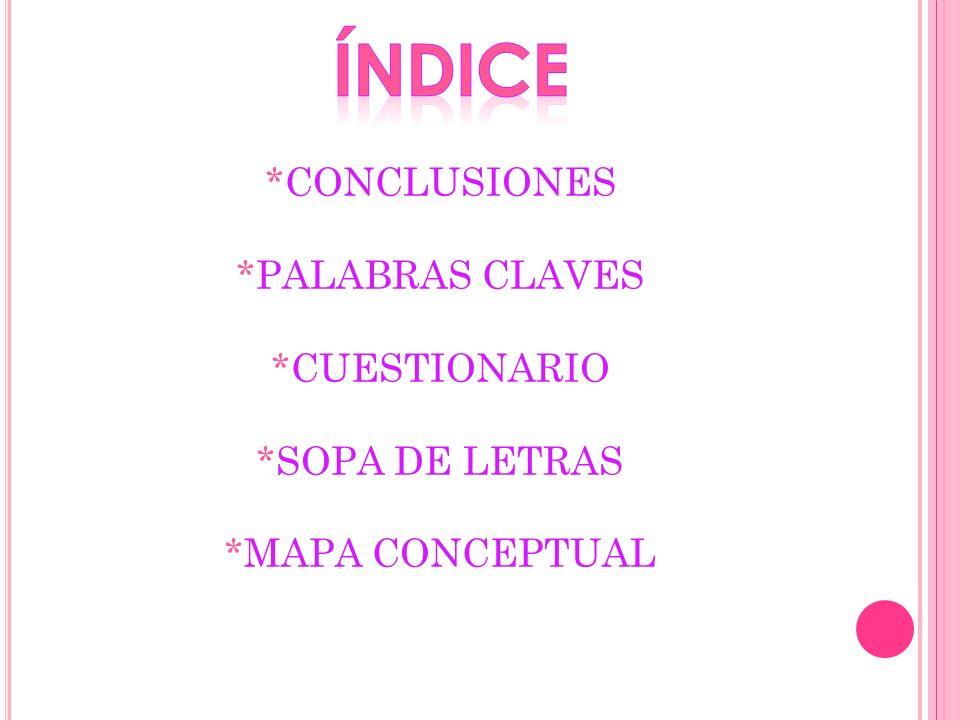 índice *CONCLUSIONES *PALABRAS CLAVES *CUESTIONARIO *SOPA DE LETRAS *MAPA CONCEPTUAL