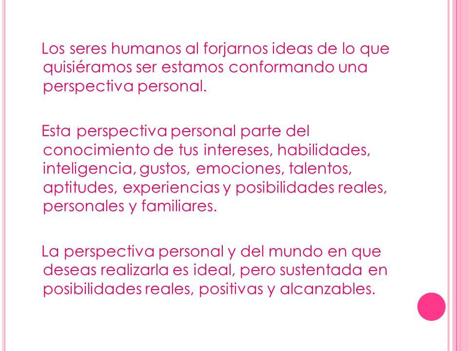 Los seres humanos al forjarnos ideas de lo que quisiéramos ser estamos conformando una perspectiva personal.