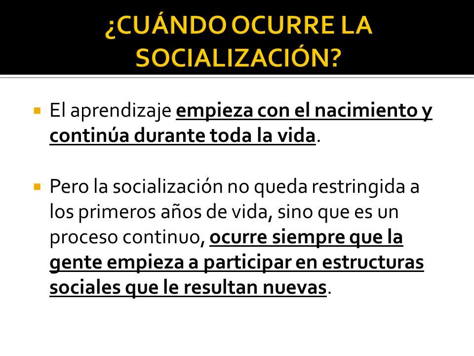 ¿CUÁNDO OCURRE LA SOCIALIZACIÓN