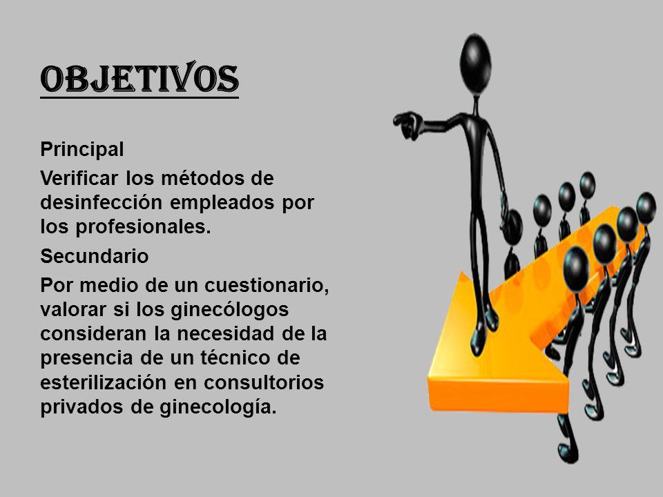 OBJETIVOS Principal. Verificar los métodos de desinfección empleados por los profesionales. Secundario.