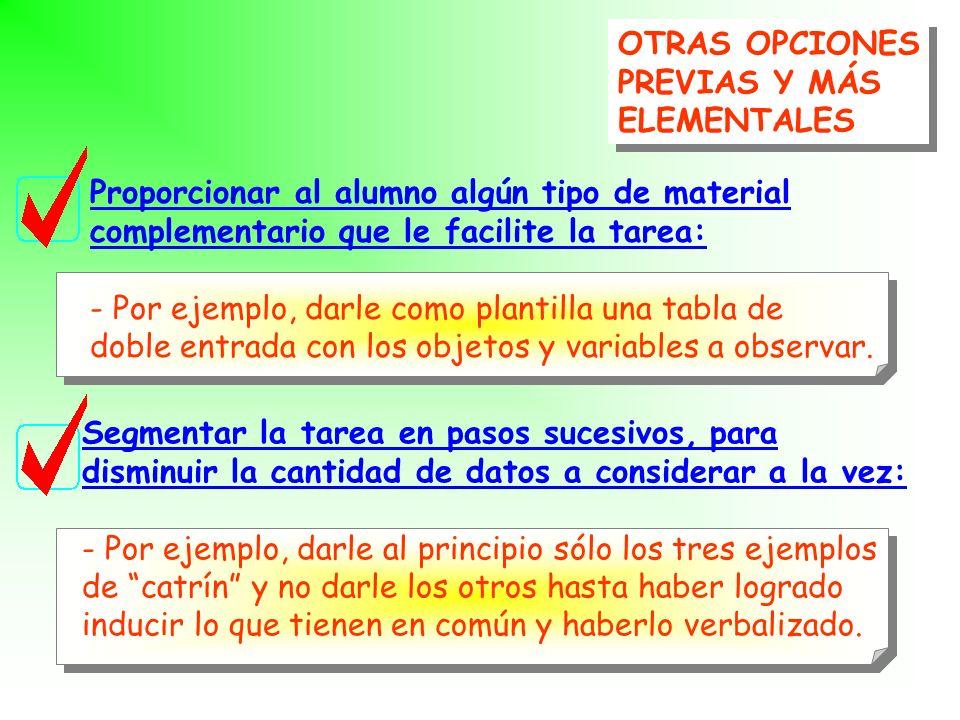 OTRAS OPCIONESPREVIAS Y MÁS. ELEMENTALES. Proporcionar al alumno algún tipo de material. complementario que le facilite la tarea: