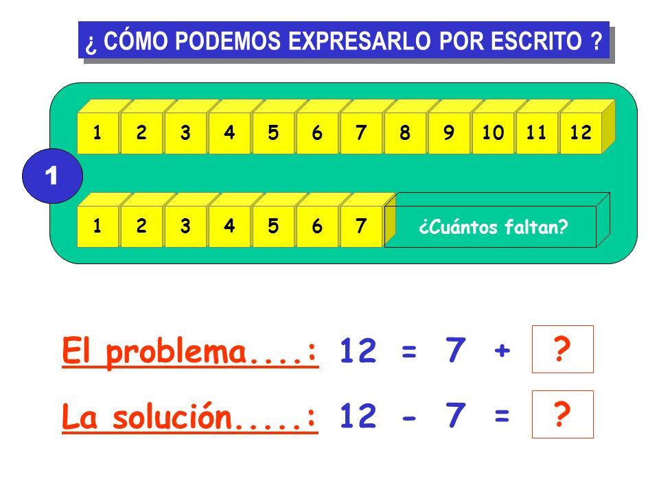 El problema....: 12 = 7 + La solución.....: 12 - 7 =