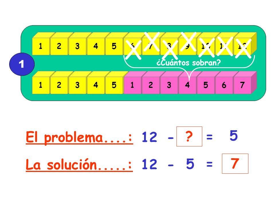 X X X X X X X El problema....: 12 - = 5 La solución.....: 12 - 5 = 7