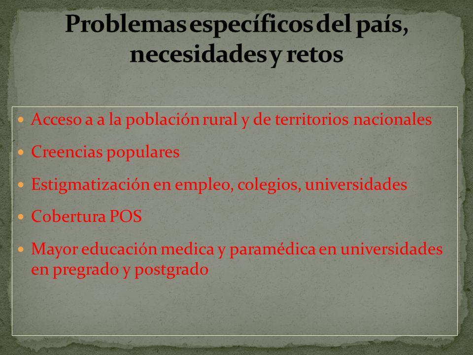 Problemas específicos del país, necesidades y retos