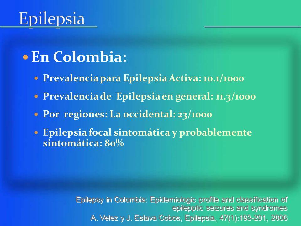 Epilepsia En Colombia: Prevalencia para Epilepsia Activa: 10.1/1000