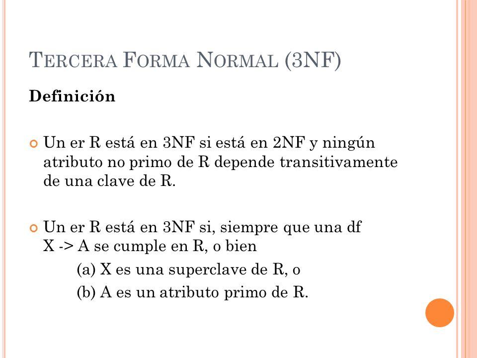 Tercera Forma Normal (3NF)
