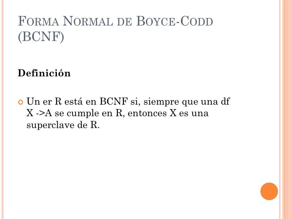 Forma Normal de Boyce-Codd (BCNF)