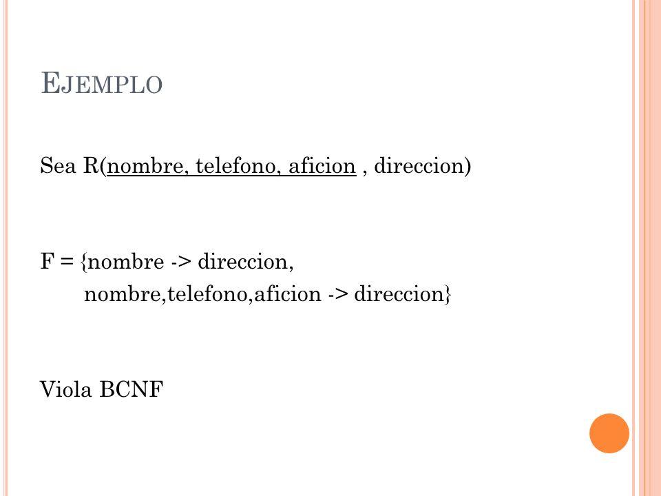 Ejemplo Sea R(nombre, telefono, aficion , direccion)