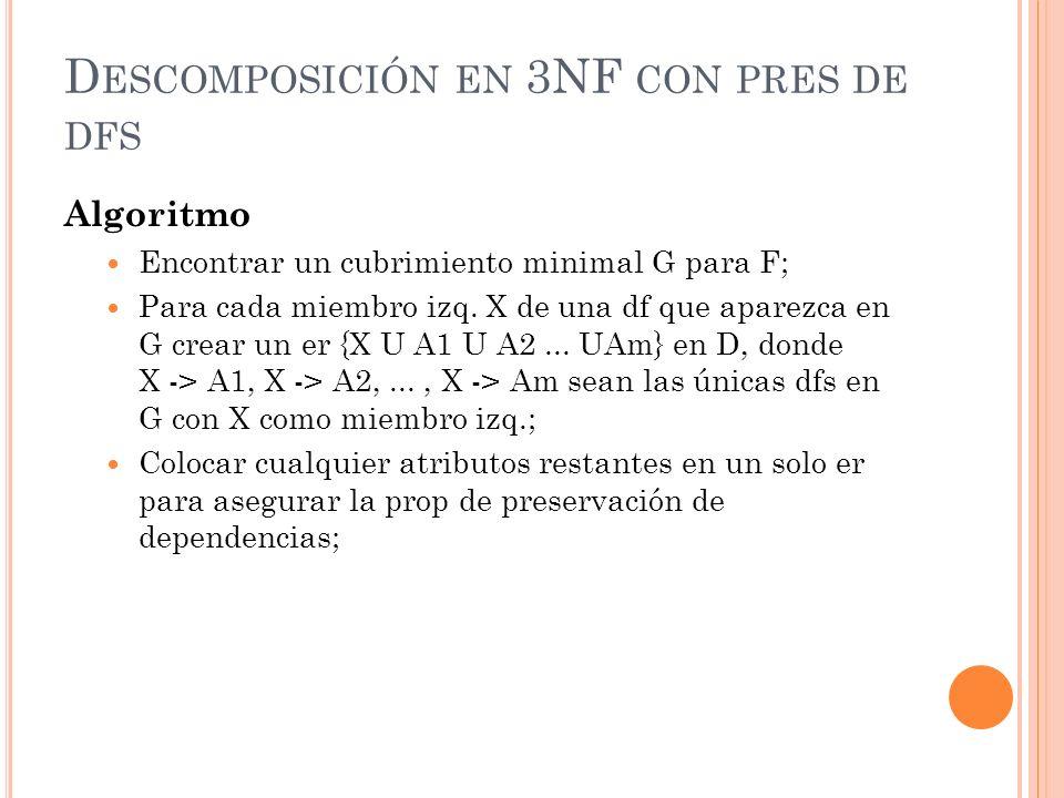 Descomposición en 3NF con pres de dfs