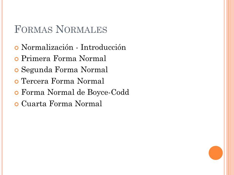 Formas Normales Normalización - Introducción Primera Forma Normal