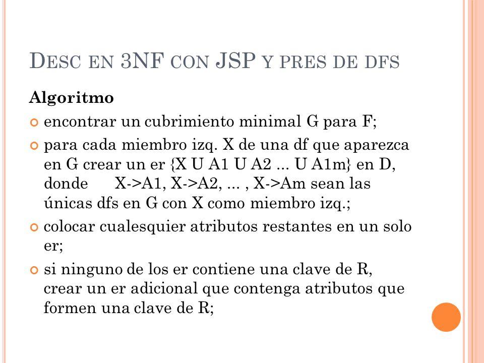 Desc en 3NF con JSP y pres de dfs