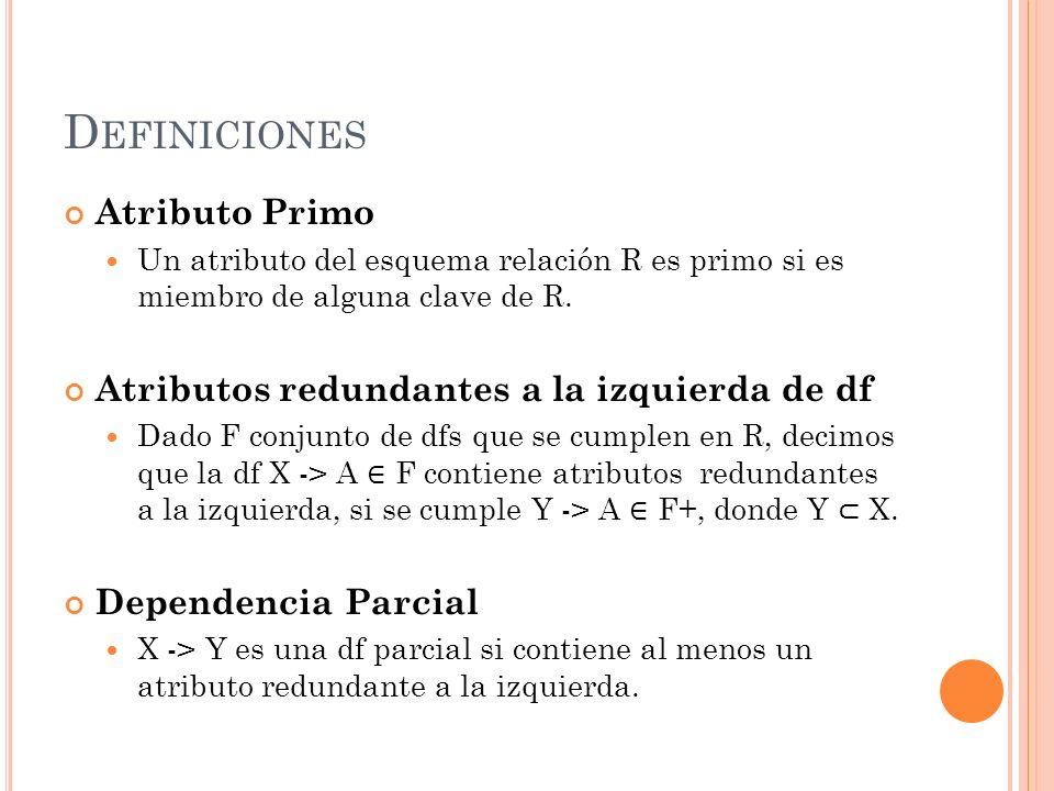 Definiciones Atributo Primo Atributos redundantes a la izquierda de df