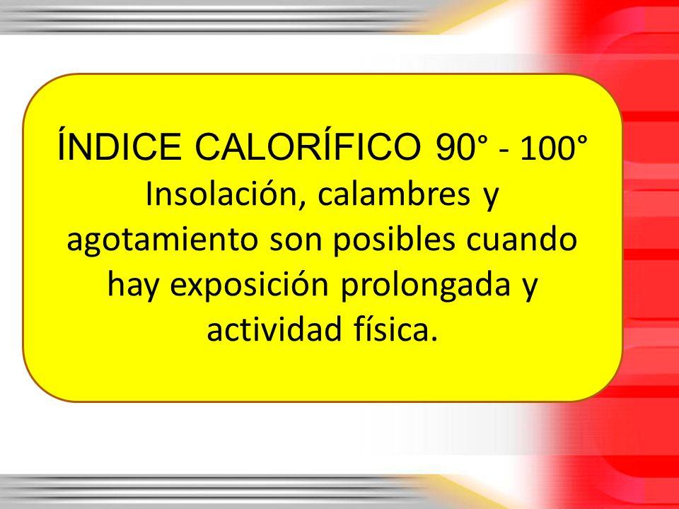 ÍNDICE CALORÍFICO 90° - 100° Insolación, calambres y agotamiento son posibles cuando hay exposición prolongada y actividad física.