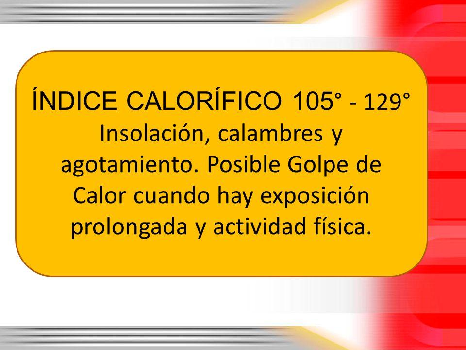 ÍNDICE CALORÍFICO 105° - 129° Insolación, calambres y agotamiento.