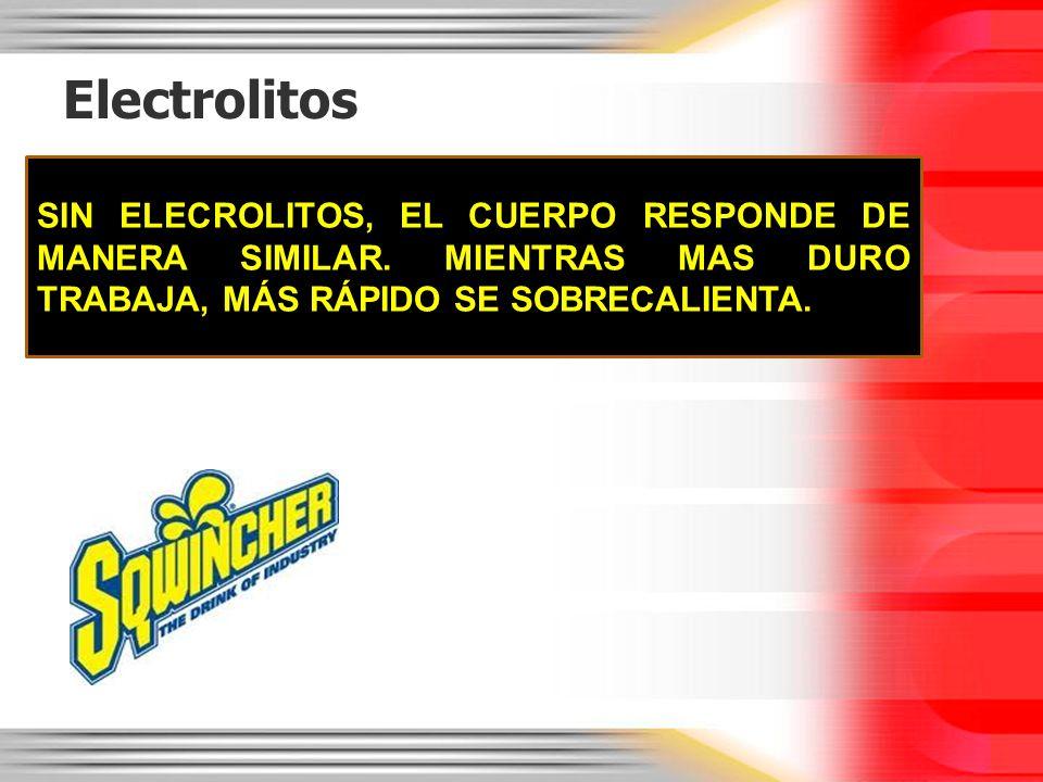Electrolitos SIN ELECROLITOS, EL CUERPO RESPONDE DE MANERA SIMILAR.