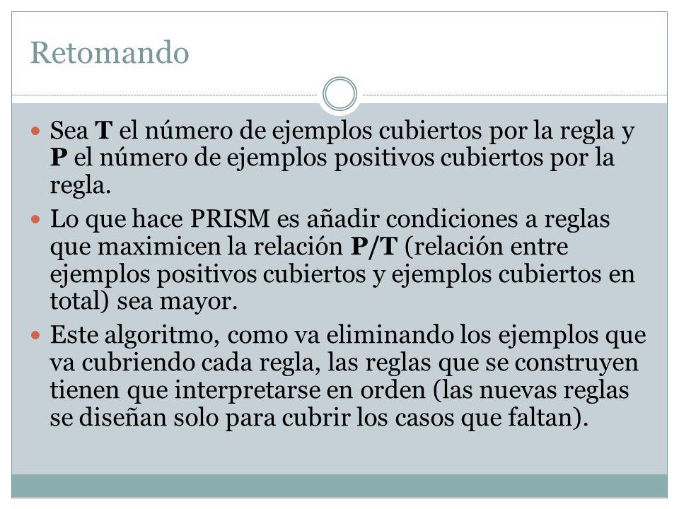 Retomando Sea T el número de ejemplos cubiertos por la regla y P el número de ejemplos positivos cubiertos por la regla.
