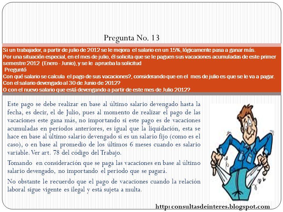 Pregunta No. 13