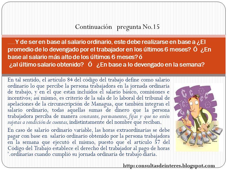 Continuación pregunta No.15
