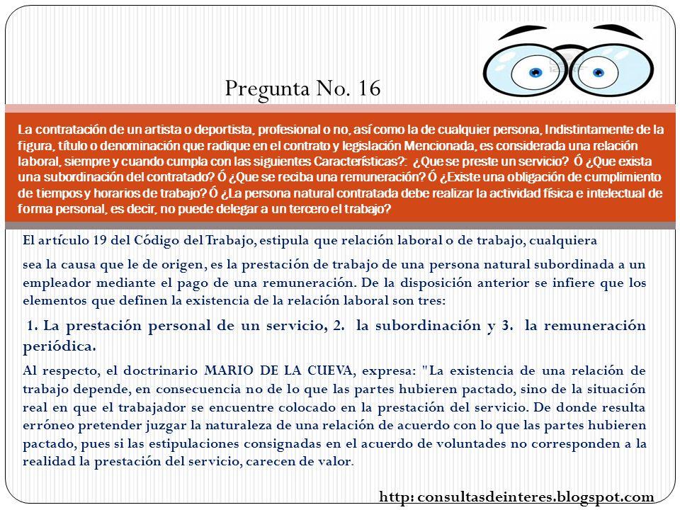 Pregunta No. 16