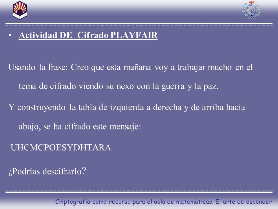 Actividad DE Cifrado PLAYFAIR